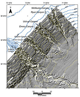 A steep-sided valley cut into the seabed of the continental slope