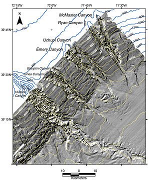 Submarine canyon - Shaded relief image of seven submarine canyons imaged on the continental slope off New York, using multibeam echosounder data, the Hudson Canyon is the furthest to the left