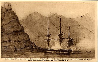 Aden Expedition - Contemporary painting showing British warships engaging Sira fortress batteries