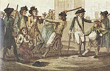 A caricature of men being arrested for British military service by a Press Gang. In the center middle ground is an agent with a bat raised to hit his recruits, behind him is an alarmed woman; immediately to the left are two standing men in tattered lower class dress, and another kneeling and pleading; to the far left foreground two gentlemen look on; to the right is an agent with sword, another with a bat over his shoulder, and between them a man half their height with a distended belly calmly questioning his detention.