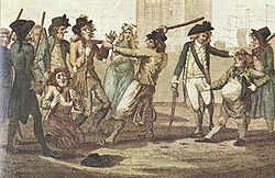 1780 caricature drawing of a press gang encounter