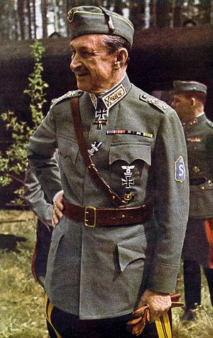 Field marshal (Finland) - C.G.E. Mannerheim wearing the rank insignia of sotamarsalkka, Finnish field marshal, as established for the m/36 service uniform.