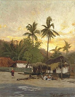 Painting of a sandy beach, sun setting behind it, seen from the water. People sit by a hut with two longboats. A woman carries a basket on her head up the beach toward a tile-roof house. Lush forest is silhouetted against the late sunset.