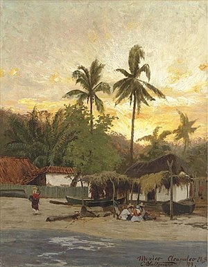 Acapulco - View of Acapulco, 1879, oil painting by Carl Saltzmann