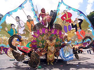 Trinidad and Tobago Carnival - Large Kings and Queens costumes, like the one shown above, play a major part in Trinidad's Carnival celebration