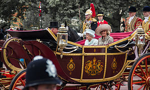 1902 State Landau - The Queen, along with the Duke and Duchess of Cornwall, rides in the 1902 State Landau during a procession as part of the celebrations of her Diamond Jubilee, 2012.