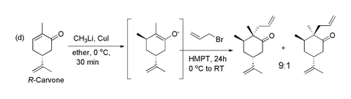 Methylation of carvone by Me2CuLi, followed by allylation by allyl bromide