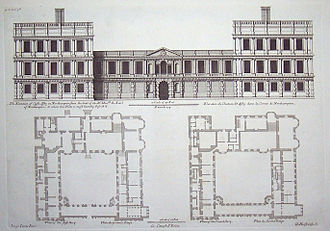 Castle Ashby House - Elevation and ground floor (left) and first floor (right) plans. Key rooms include: great hall (top of courtyard, centre and right through both storeys); great chamber (top right on first floor); chapel (bottom right through both storeys); long gallery (bottom centre on first floor).