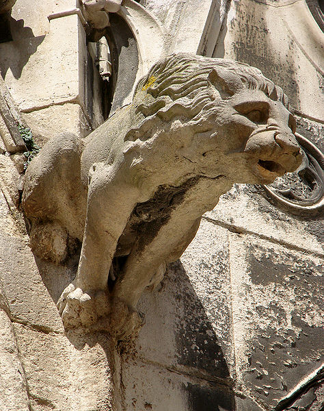 Gargoyle on the Cathedral Saint-Etienne de Meaux in France, east of Paris. South Transept