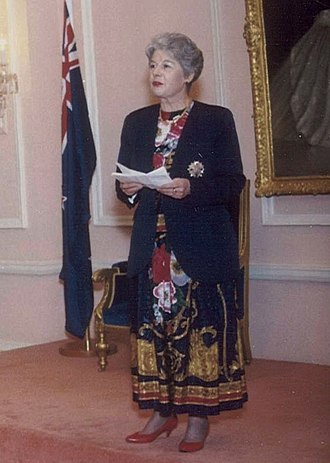 Catherine Tizard - Tizard delivering a speech at an official function, 1992