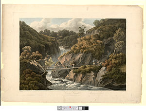 Hafod Uchtryd - Cavern Cascade, by John 'Warwick' Smith c.1810
