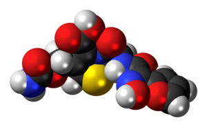 Ball-and-stick model of the cefuroxime molecule