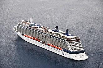 Celebrity Reflection - Image: Celebrity Reflection cruise ship in Santorini, Greece 001