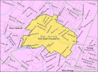 Caldwell, New Jersey - Image: Census Bureau map of Caldwell, New Jersey