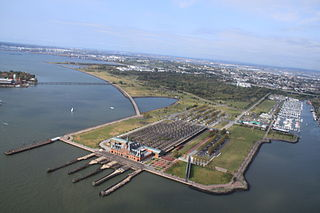 Liberty State Park park located on Upper New York Bay in Jersey City, New Jersey