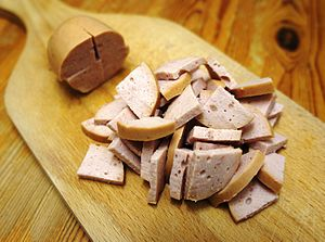 Cervelat - Cervelat cut in pieces typically used for Wurstsalat