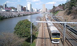 Chūō-Sōbu Line on Sotobori.JPG