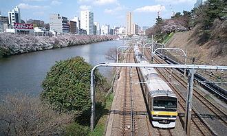 Chūō-Sōbu Line - An E231 series EMU on the Chuo-Sobu Line in central Tokyo in March 2008