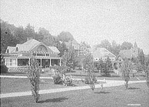 Adirondack Cottage Sanitarium - 1906 view of the Chapel and cure cottages shown above