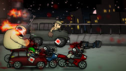 A character in a large van, another in a four door car, and a large, muscular man on a bicycle chase two ninjas on motorcycles.