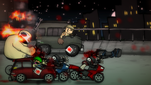 Charlie Murder - Charlie, Tommy, and Rex fighting ninjas in a vehicle sequence