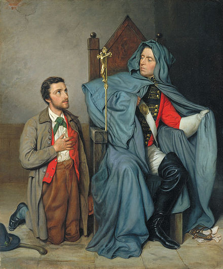 Charlotte Schreiber's The Croppy Boy (1879), relating to the United Irishmen's Wexford Rebellion. A man, possibly a rebel from his green cravat, kneels before a Catholic priest who is covertly in military uniform. The church hierarchy opposed the rebellion. Charlotte Schreiber - The Croppy Boy.jpg