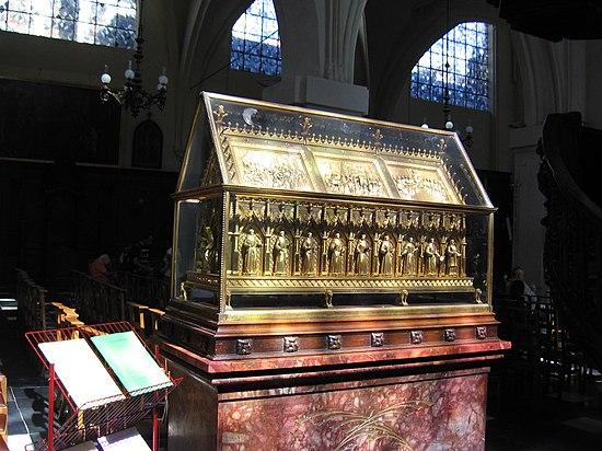 Relikvier av de heilige martyrene fra Gorkum i Sint-Niklaaskerk (Beurs) i Brussel