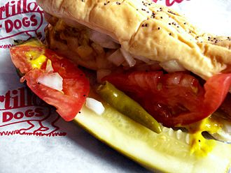 Chicago-style hot dog - Chicago-style hot dog at Portillo's