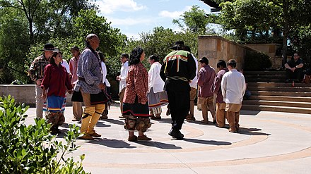Chickasaw Native cultural/religious dancing Chickasaw Stomp Dance Demonstration.jpg