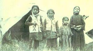 Felix Flying Hawk - Children of Felix Flying Hawk, Du Bois, Pennsylvania, June 22, 1908.  Left to right: David, Robert, Lucille and Eva.