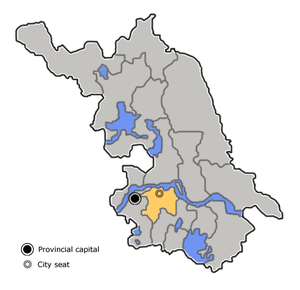 Location of Zhenjiang City (yellow) in Jiangsu