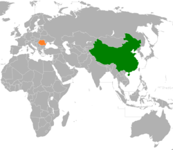 Map indicating locations of China and Romania