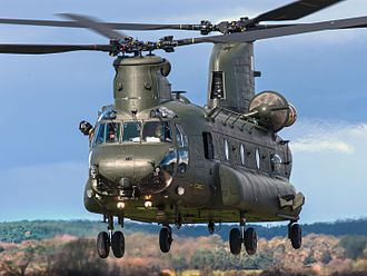 Boeing Chinook (UK variants) - HC3 landing at Shawbury in 2016