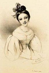 Clara Wieck 1832 in Paris, Lithographie nach einem Gemälde von Eduard Fechner (Quelle: Wikimedia)