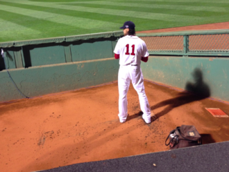 Clay Buchholz - Clay Bucholz warming up before Game 1 of the 2013 ALCS