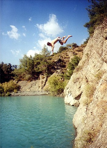 Cliff jumping in Cyprus