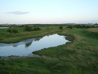 North Kent Marshes - Cliffe Creek Fleet. The complex landscape of the marshes, in the foreground a fleet, then a bank and one of the Pools managed by the RSPB, then the chalk outcrop, heavily quarried, where one finds Cliffe village.