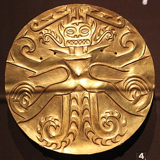 Sitio Conte - A large gold plaque or pectoral, excavated from Sitio Conte by the University of Pennsylvania Museum in 1940. A Penn Museum blog post gives an idea of how this plaque was used.