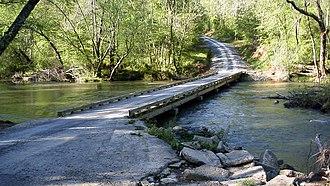 Uwharrie River - The Coggins Low-water Bridge over the Uwharrie River.