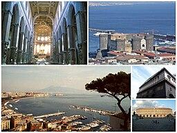 Neapel-Katedral (interiør), Castello Nuovo, Neapel havn, Teatro San Carlo og Kongepaladser.