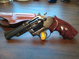 "Colt Trooper - Colt Trooper Mk III, (circa 1980) with a 4"" barrel and aftermarket wood grips"