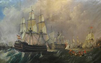 Spanish ship Nuestra Señora de la Santísima Trinidad - Infante don Pelayo going to rescue Santisima Trinidad at Battle of Cape St Vincent on 14 February 1797
