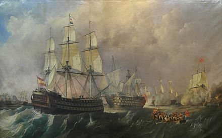 Rescue of the Santisima Trinidad at the Battle of Cape St Vincent, by Antonio de Brugada Vila (1804-1863). CombateDeSanVicenteElNavioPelayoAcudeEnAuxilioDelNavioSantisimaTrinidad.jpg