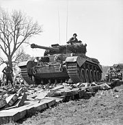Comet tanks of the 2nd Fife and Forfar Yeomanry, 11th Armoured Division, crossing the Weser at Petershagen, Germany, 7 April 1945. BU3200