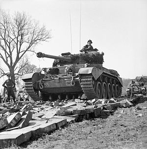 Comet (tank) - Comet tanks of the 2nd Fife and Forfar Yeomanry, 11th Armoured Division, crossing the Weser at Petershagen, Germany, 7 April 1945