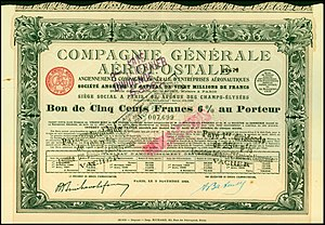 Aéropostale (aviation) - Security paper of the Compagnie Générale Aéropostale, issued 5. November 1928