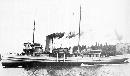 Compeller Tugboat on first on test runs, a type V3-S-AH2, built in 1944 by the Puget Sound Shipbuilding Company at Olympia, Wa., US Navy YN-14