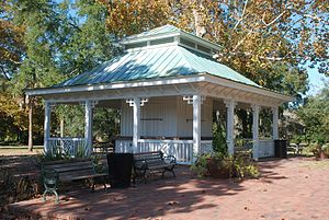 Hampton Park (Charleston) - The concession stand has been shuttered for many years but provides a shaded place to sit for park visitors.