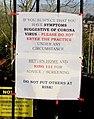Coronavirus (COVID-19) notice facing Malpas Road, Newport (geograph 6434696).jpg