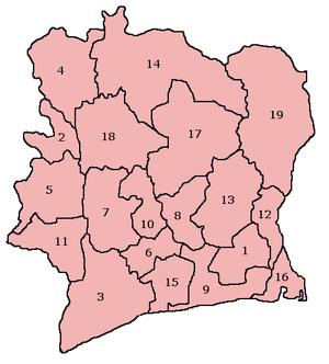 Fildişi Sahili'nin bölgeleri